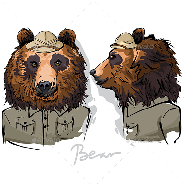Bear Dressed as Human Ranger - Animals Characters