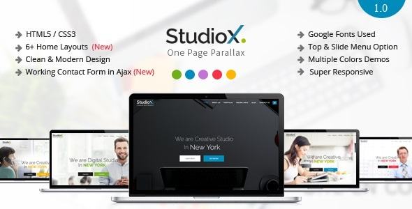 StudioX – One Page Parallax Joomla Template