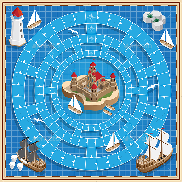 Board Game on the Marine Theme - Man-made Objects Objects