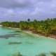 View From Quadrocopters To the Island with Large Palm Trees and Bathing People - VideoHive Item for Sale