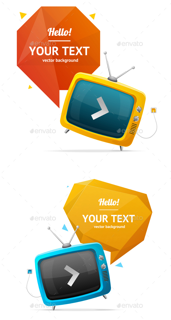 Retro TV with Bubble Speech. Vector - Concepts Business