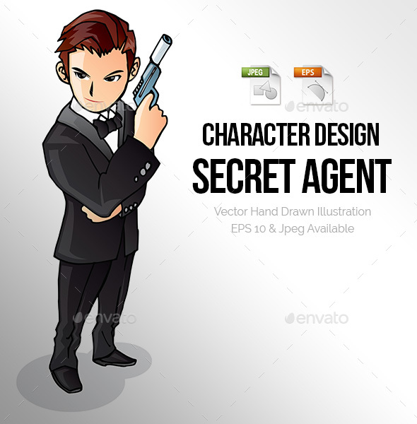 Secret Agent Spy Character Illustration - People Characters