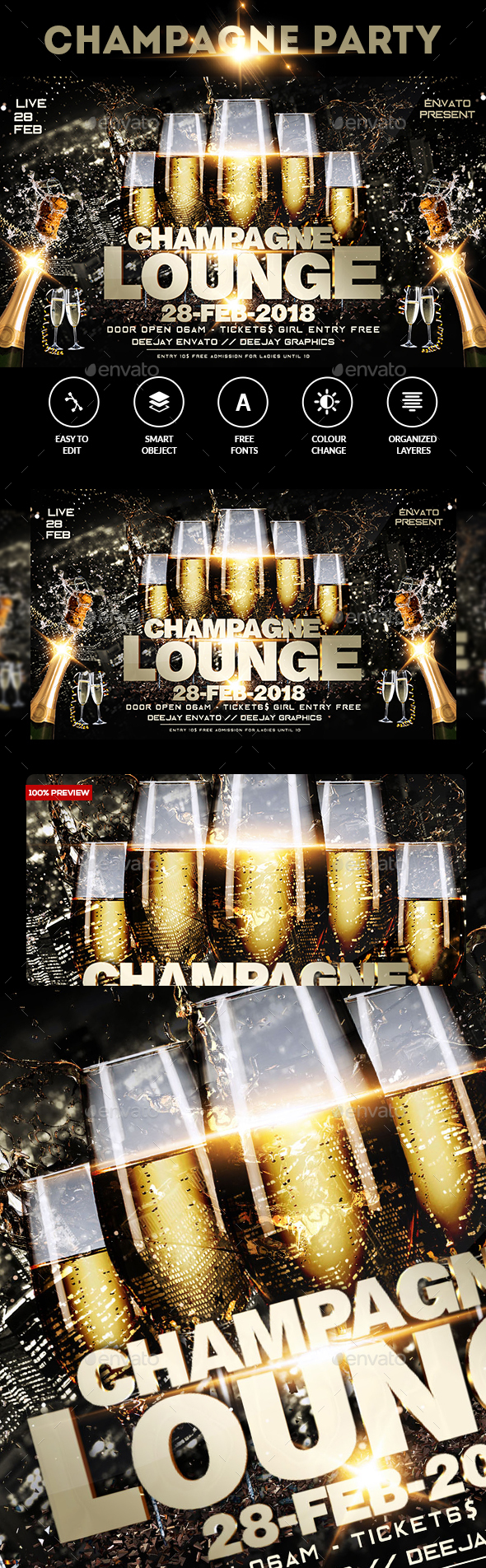 Champagne Party Flyer - Events Flyers