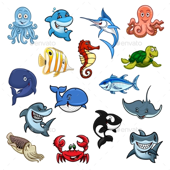 sea and ocean animals fish cartoon icons by Red Crab Clip Art blue claw crab clipart