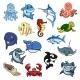 Sea and Ocean Animals Fish Cartoon Icons