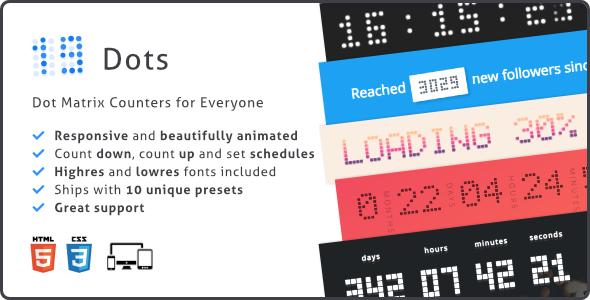 Dots Countdown, Responsive Dot Matrix Counter Plugin - CodeCanyon Item for Sale