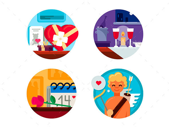 Valentine Day Set of Icons - Valentines Seasons/Holidays