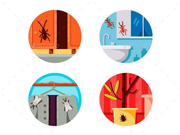 Household Vermin Set Icons - Web Elements Vectors