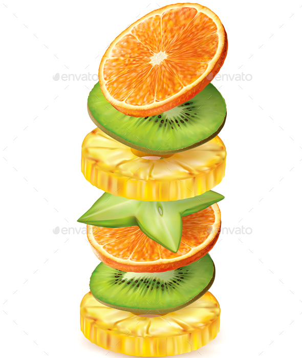 Tropical Fruits Slices - Food Objects