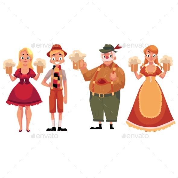 People in Traditional German Bavarian Costume - People Characters