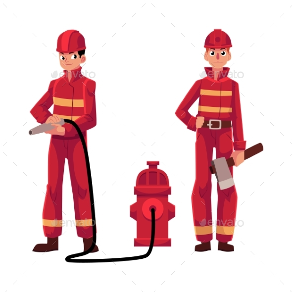 Firemen in Red Protective Suit - People Characters