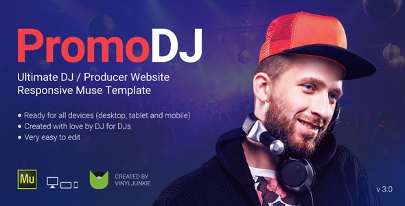 PromoDJ – Professional One Page DJ / Producer Responsive Muse Template
