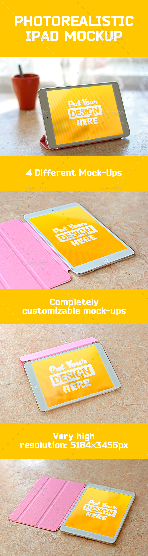 Photorealistic iPad Mockup Templates - Mobile Displays