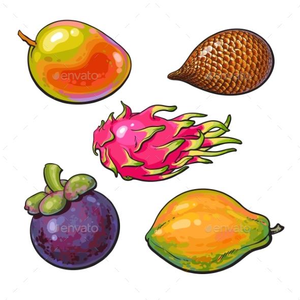 Whole Unpeeled Uncut Mango Papaya and Mangosteen - Food Objects