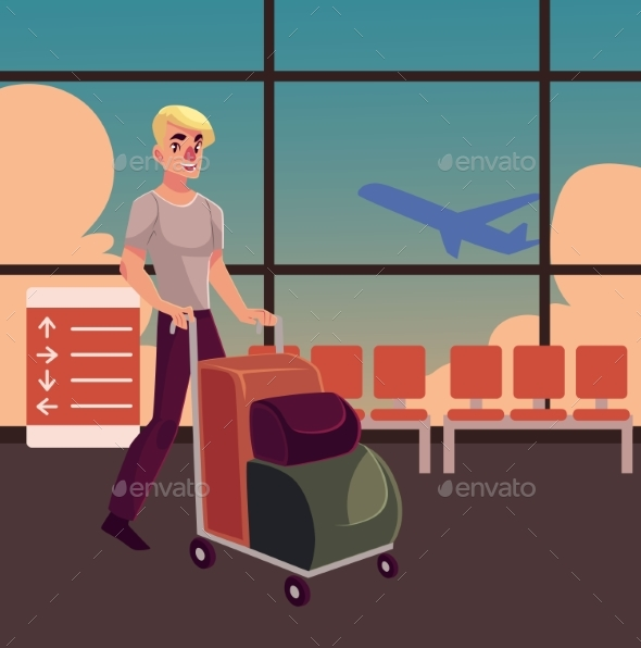 Young Man Pushing Airport Trolley with Luggage - Travel Conceptual