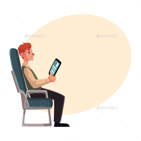 Young Man Sitting in Airplane Economy Class - Travel Conceptual