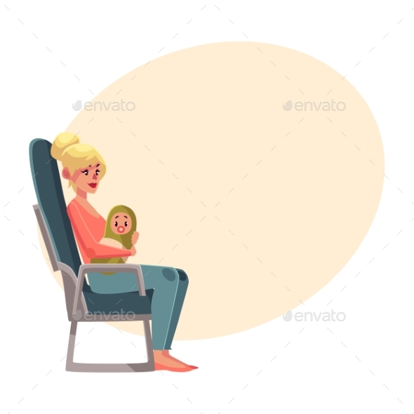 Young Woman in Airplane Seat Economy Class - Travel Conceptual