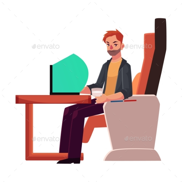 Young Unshaved Man Working on Laptop in Business - Concepts Business