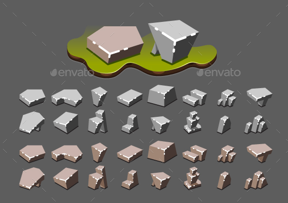 Isometric Stones for Creating Video Games - Miscellaneous Game Assets
