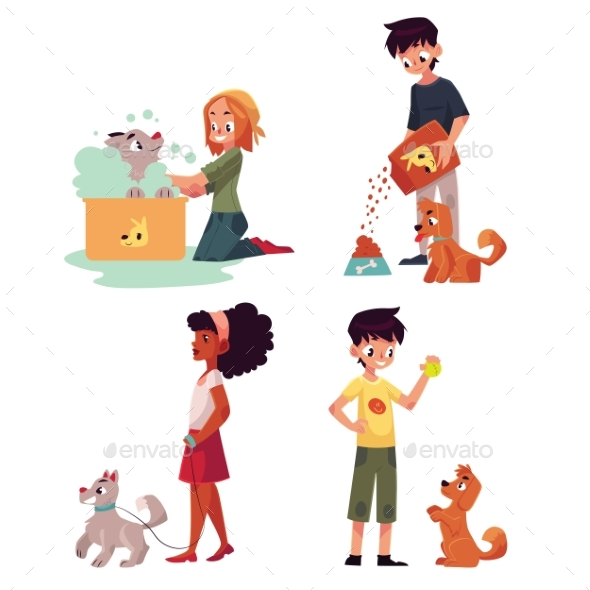 Happy Kids Caring for a Dog - People Characters