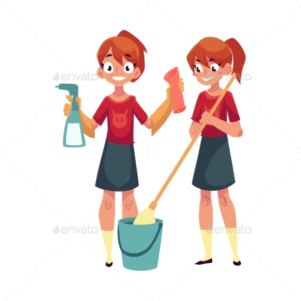 Teenage Girl Cleaning House and Washing Floor - People Characters