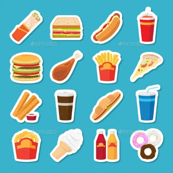 Fast Food and Drink Stickers - Food Objects