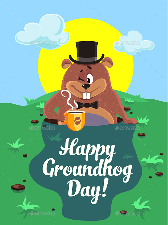 Happy Groundhog Day Illustration - Miscellaneous Seasons/Holidays