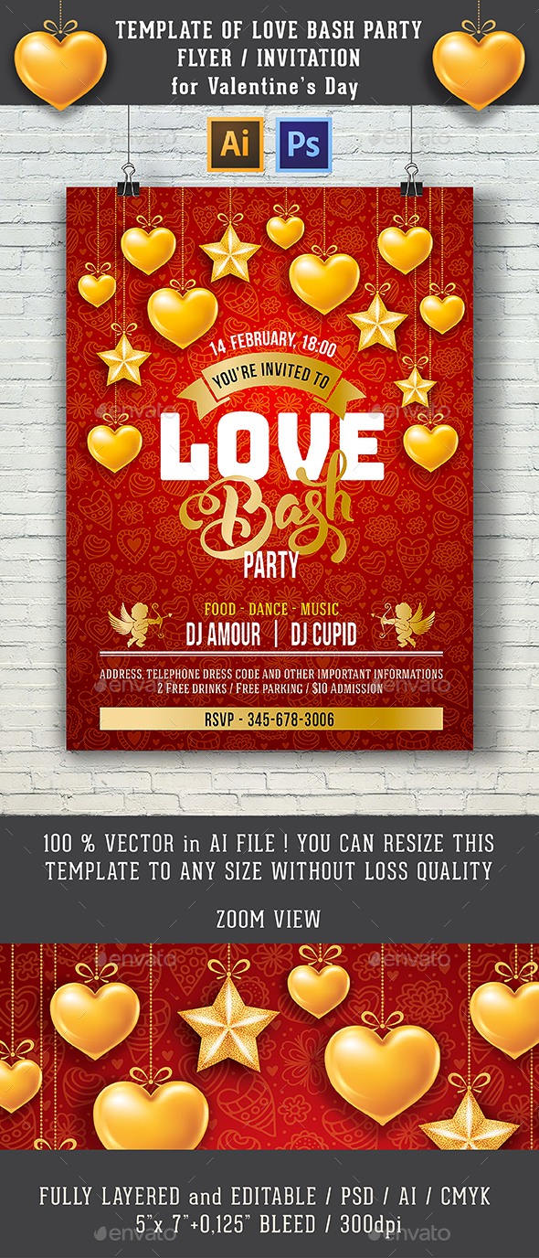 Love Bash Party Flyer Or Invitation - Clubs & Parties Events