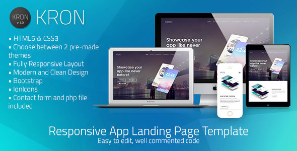 Kron | Responsive HTML/CSS App Landing Page Template