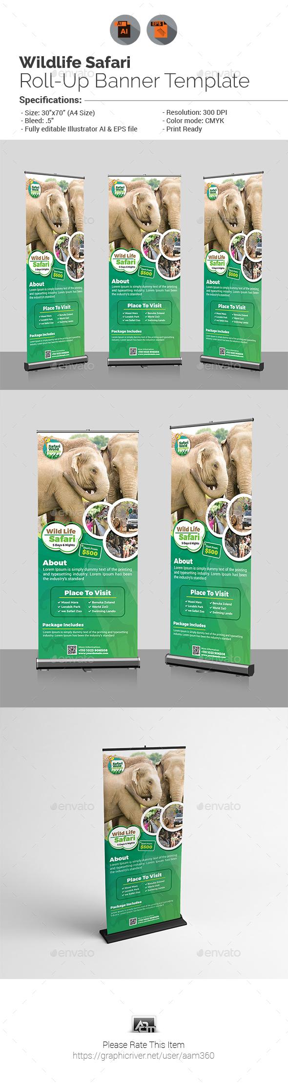 Wildlife Safari Roll-Up Banner Template - Signage Print Templates
