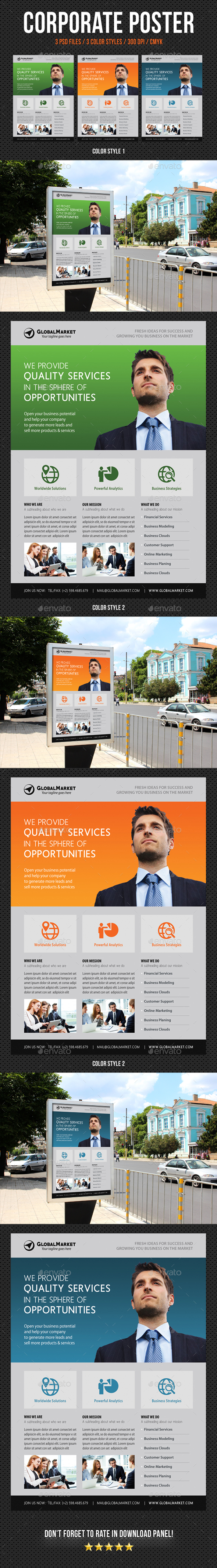 Corporate Business Poster Template V12 - Signage Print Templates