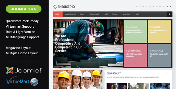 Industrix - Joomla Responsive Business Template - Business Corporate