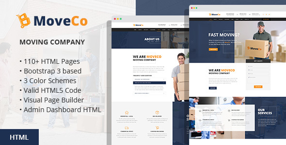 MoveCo – Moving Company HTML Template with Visual Builder and Admin Dashboard