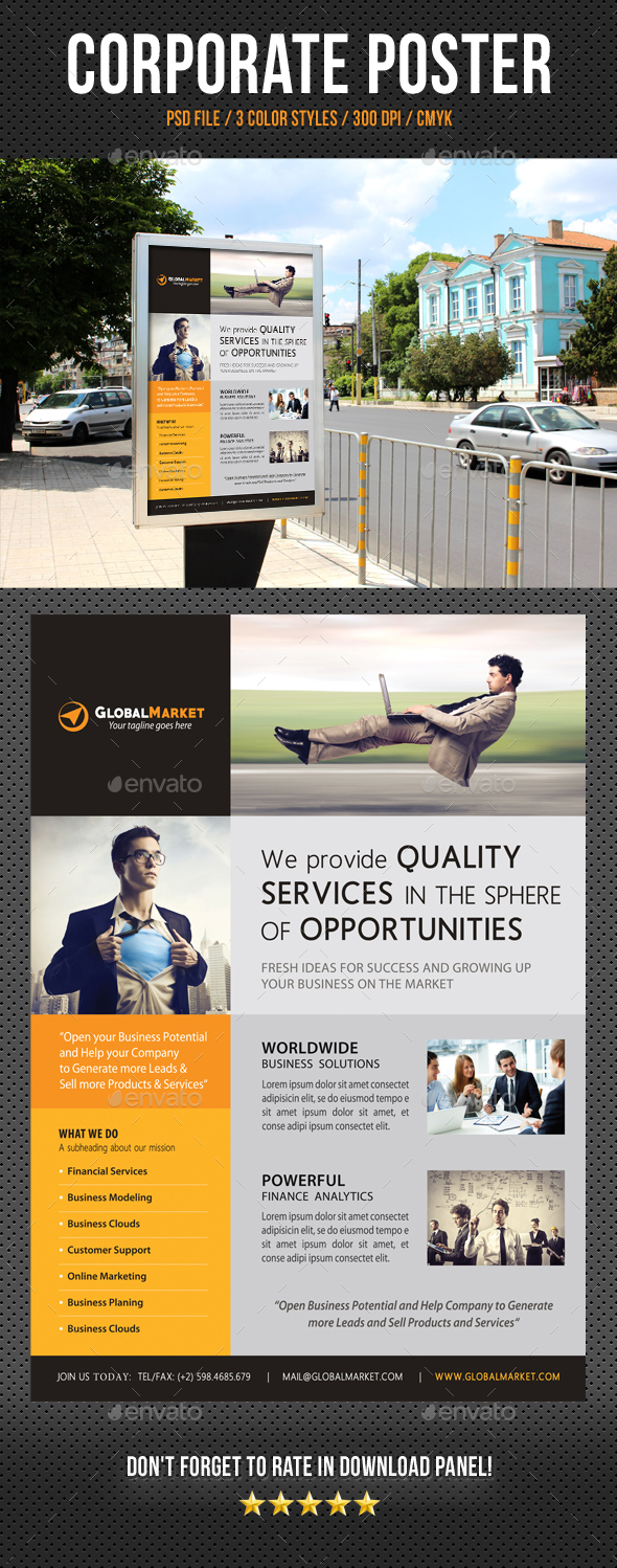 Corporate Business Poster Template V13 - Signage Print Templates