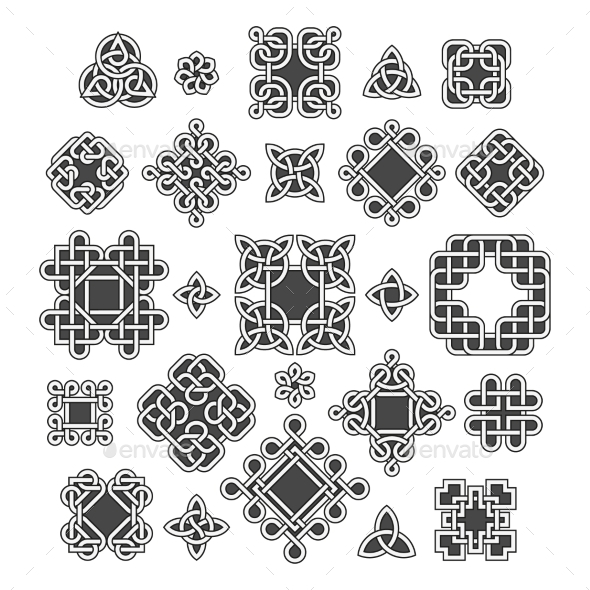 Chinese and Celtic Endless Knots Patterns Vector - Decorative Symbols Decorative