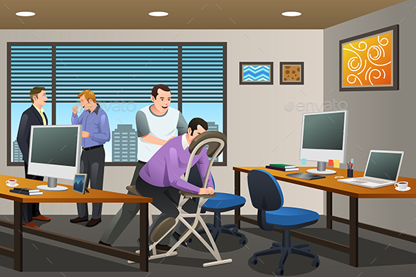 Business People Receiving Massage Therapy in the Office - Concepts Business