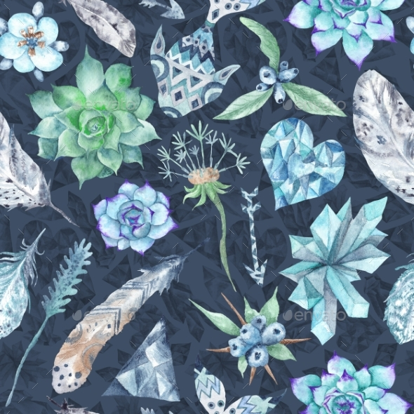 Boho Indigo Watercolor Pattern - Backgrounds Decorative