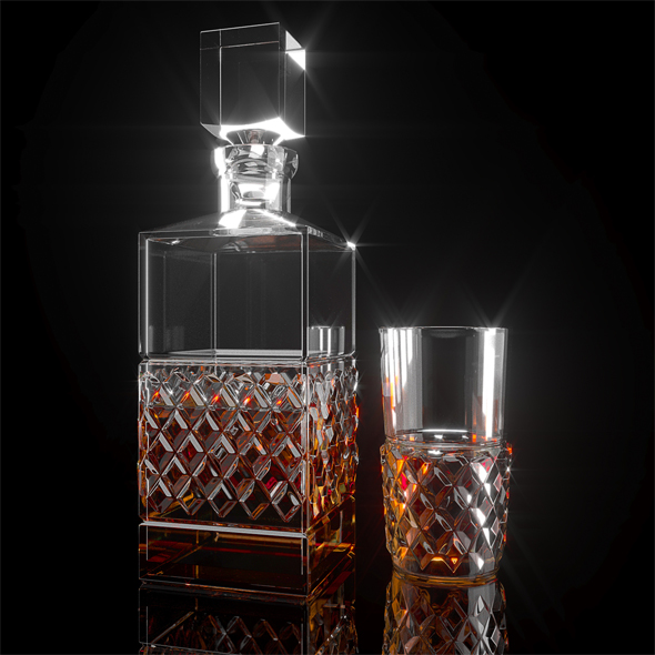 Cashs Crystal Cooper Single Malt Square Decanter - 3DOcean Item for Sale