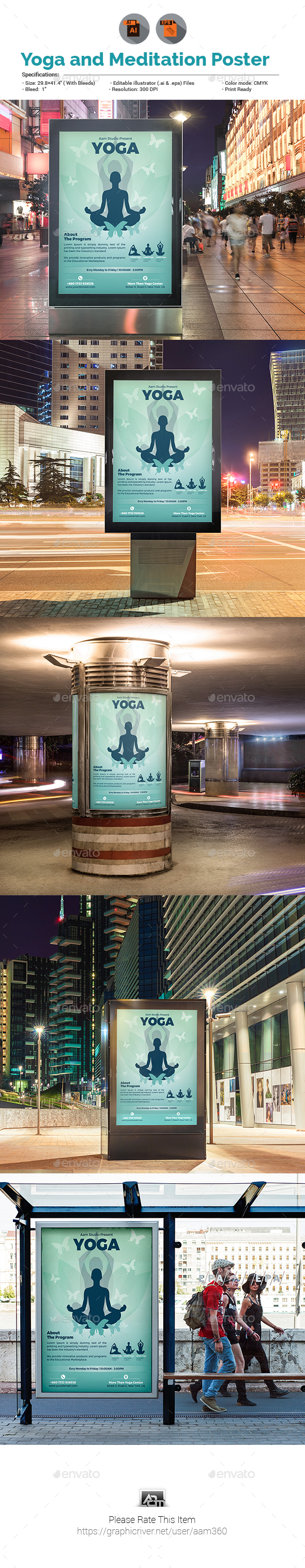 Yoga Poster Template - Signage Print Templates
