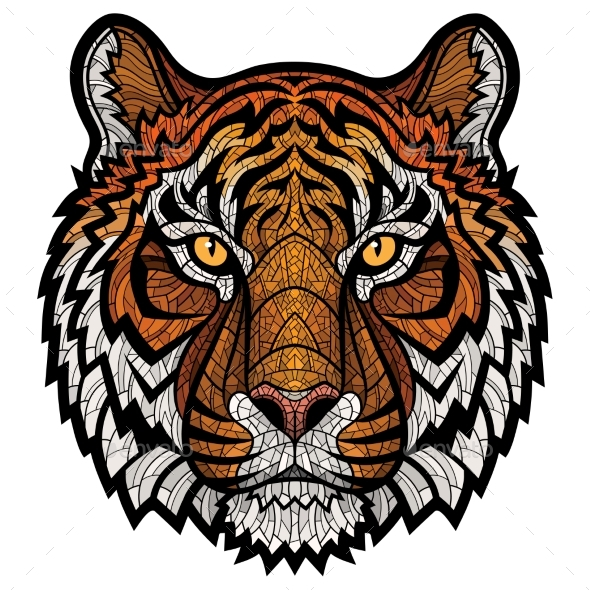 Tiger Head Isolated - Animals Characters
