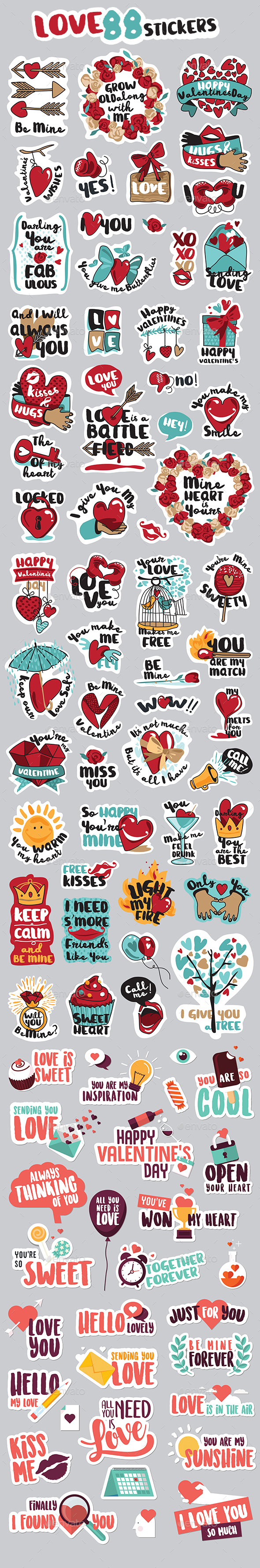 LOVE Stickers - Web Elements