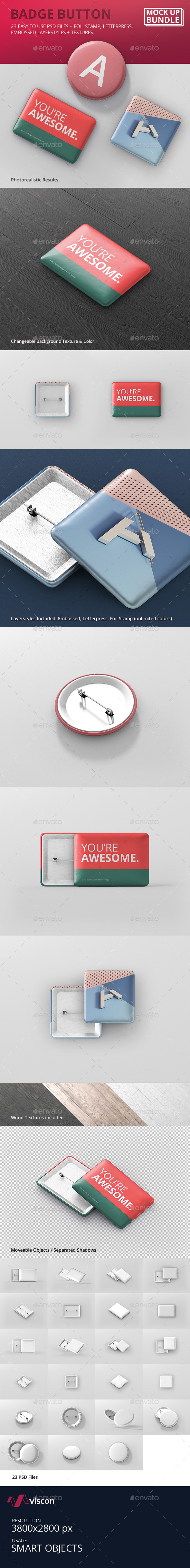 Badge Button Mockup Bundle - Stationery Print