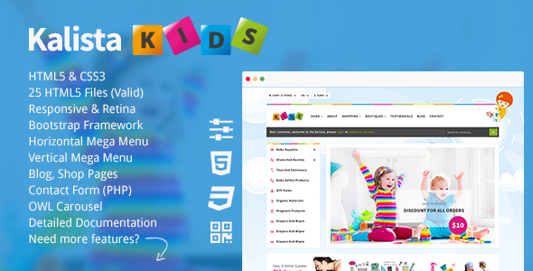 Kalista - Kids, Toys Store Responsive Site Template - Shopping Retail