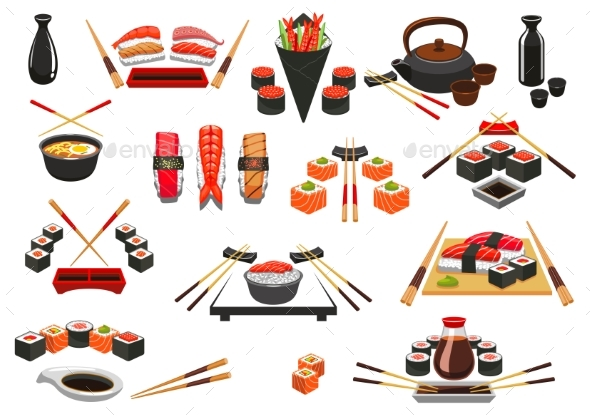 Seafood, Sushi, Sashimi Vector Icons and Emblems - Food Objects