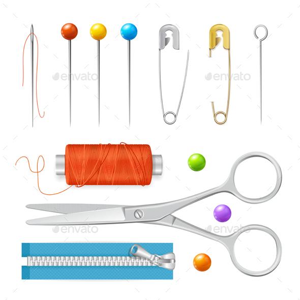 Realistic Sewing Tools Accessories Set. Vector - Objects Vectors
