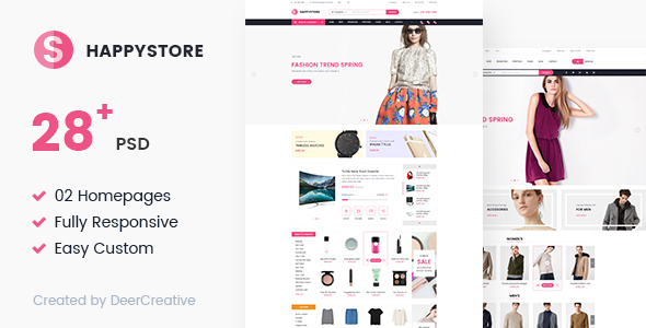 HappyStore | Multi-Purpose Responsive Ecommerce PSD Template