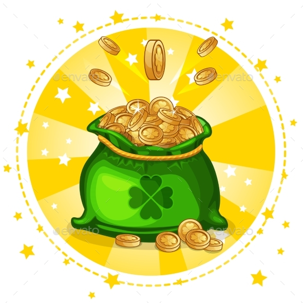 Cartoon Full Bag of Gold Coins - Concepts Business