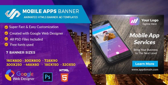 Mobile Apps HTML5 GWD Ad Banner - CodeCanyon Item for Sale