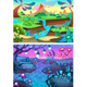 Two Cartoon Vector Landscapes, Prehistorical and Nocturnal - GraphicRiver Item for Sale