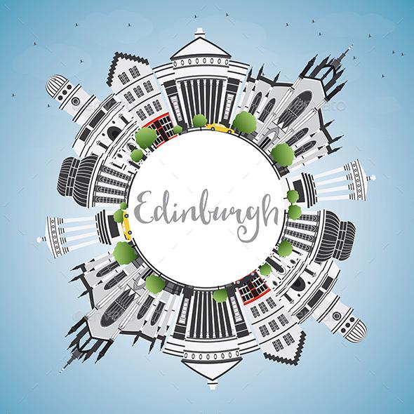 Edinburgh Skyline with Gray Buildings. - Buildings Objects